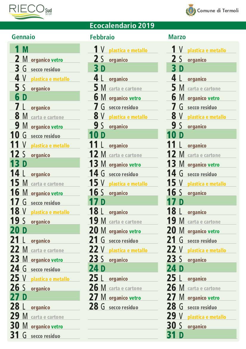 Calendario Team Teramo.Differenziata Novita Dal 1 Gennaio Calendario Unico Per