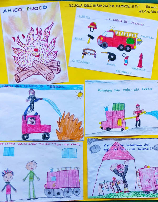 disegni donati dai bimbi ai vvf