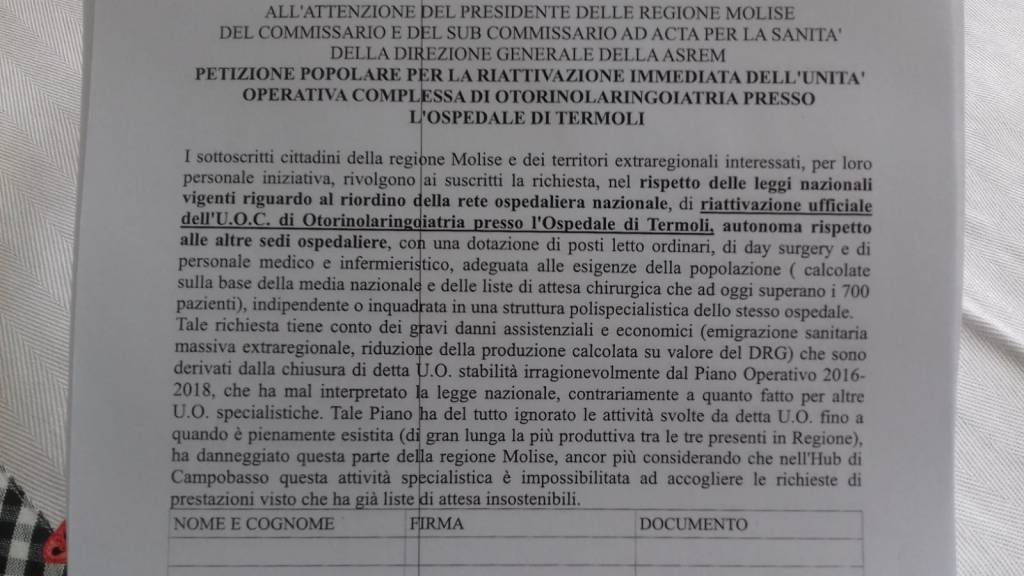 Petizione per riattivazione Otorino a Termoli