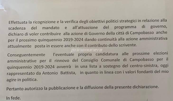 documento di fedeltà Comune Campobasso