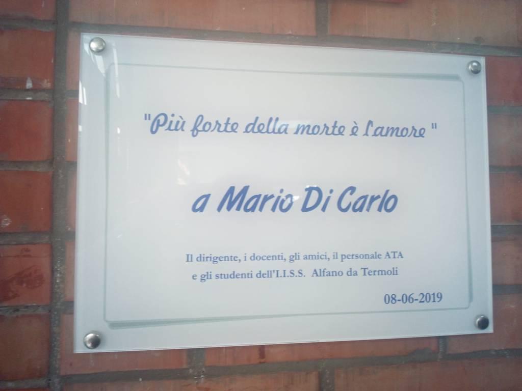 Targa per Mario Di Carlo all'Alfano