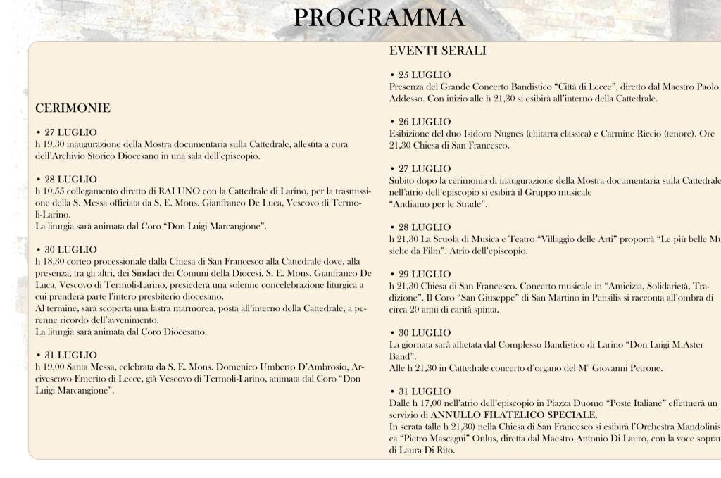 programma 700 anni cattedrale larino