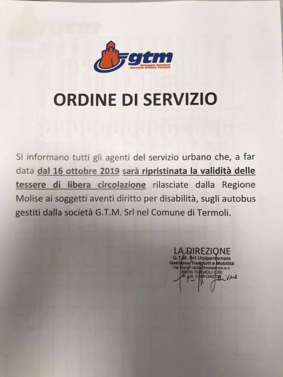 ordine di servizio gtm