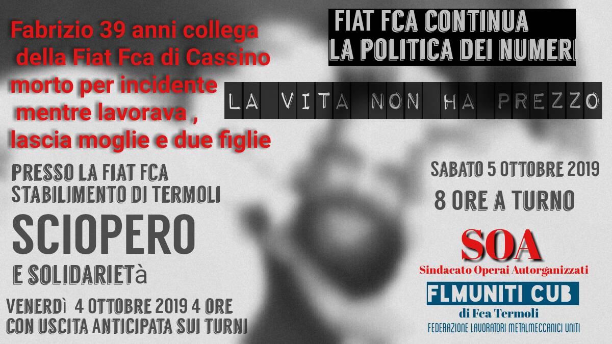 locandina sciopero Fiat