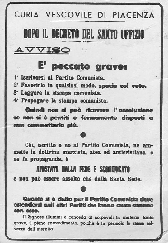 scomunica comunisti 1949