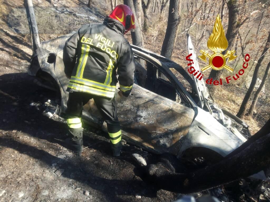 incendio auto salcito trivento vigili del fuoco