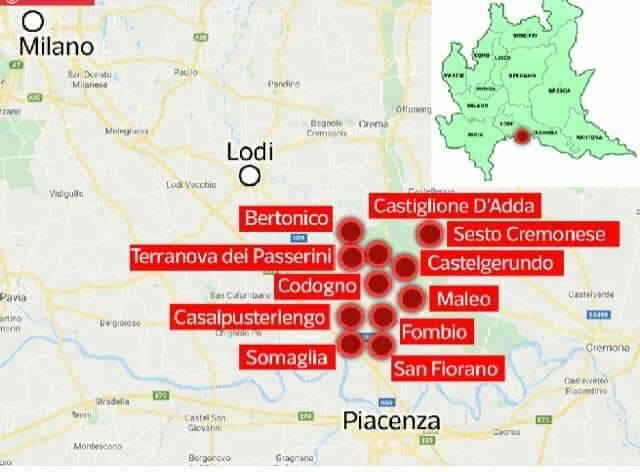 cartina coronavirus focolaio LOmbardia