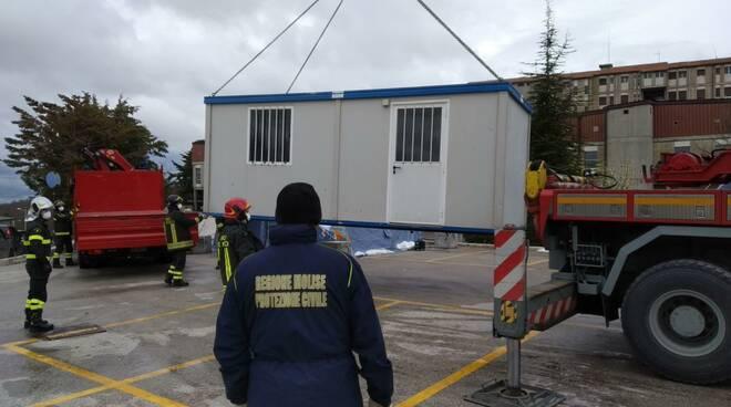 container protezione civile ospedale Cardarelli