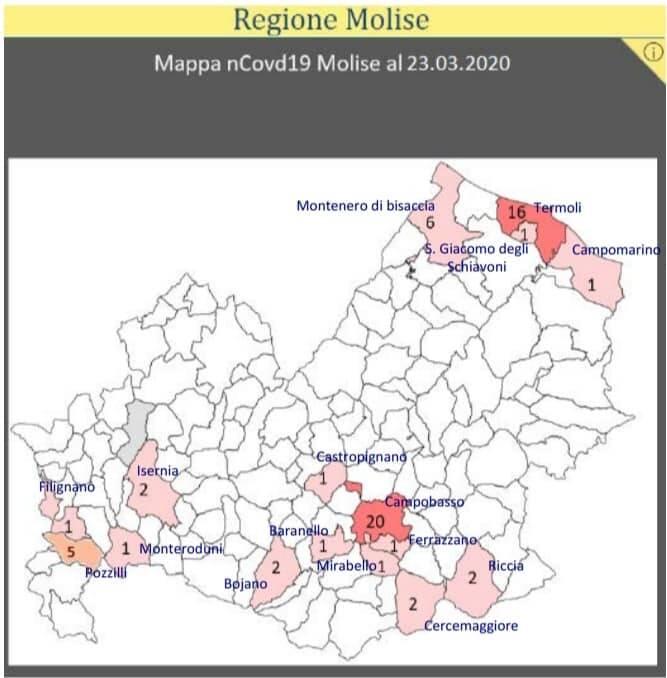 Cartina Del Molise Geografica.Covid La Mappa Del Contagio In Molise 20 Casi Nel Capoluogo Iniziata Sperimentazione Con Farmaco Per Artrite