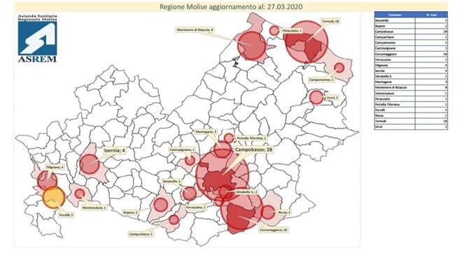 mappa e tabella coronavirus asrem 27 marzo