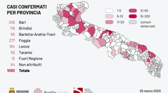 Cartina Puglia Con Province.Foggia Seconda Provincia Piu Colpita In Puglia Preoccupano Morti 50enni