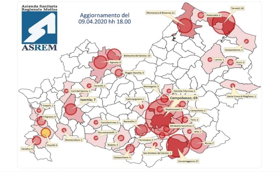 mappa contagi 9 aprile covid-19