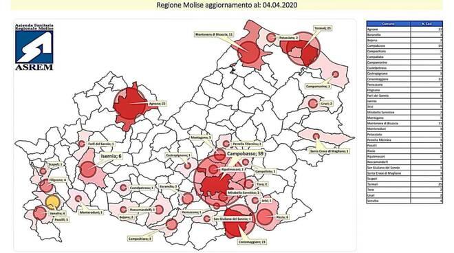 mappa e tabella covid molise 4 aprile