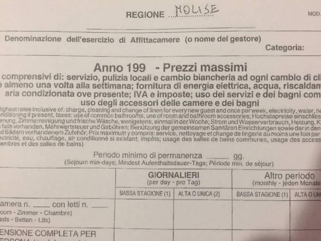 documenti in lire alberghi hotel regione molise