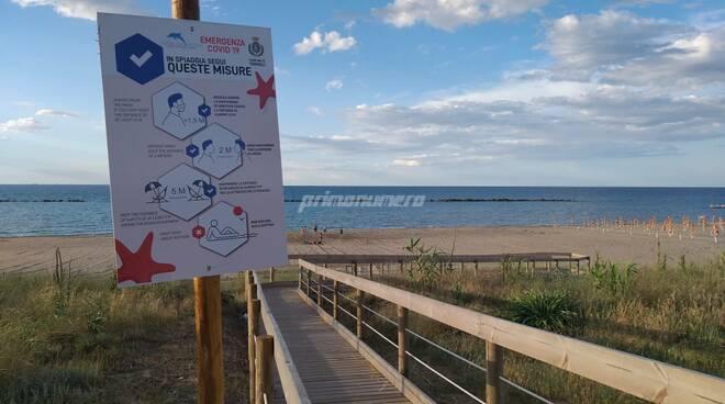 cartelloni anti covid accesso al mare spiaggia libera termoli