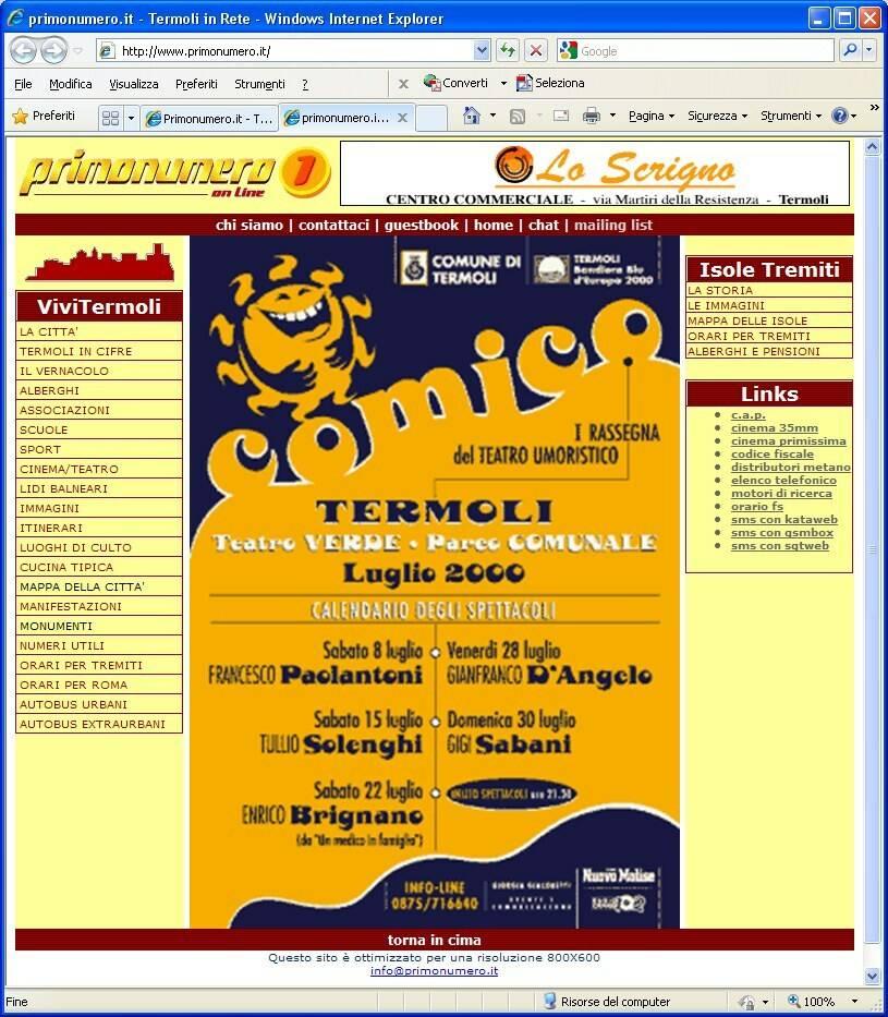 Primonumero home page 4 luglio 2000