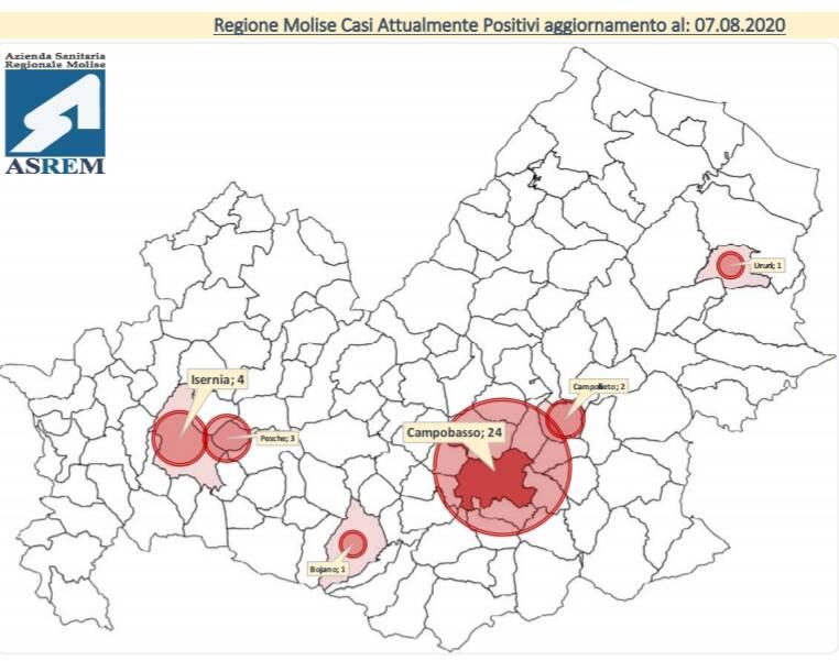mappa contagi 7 agosto