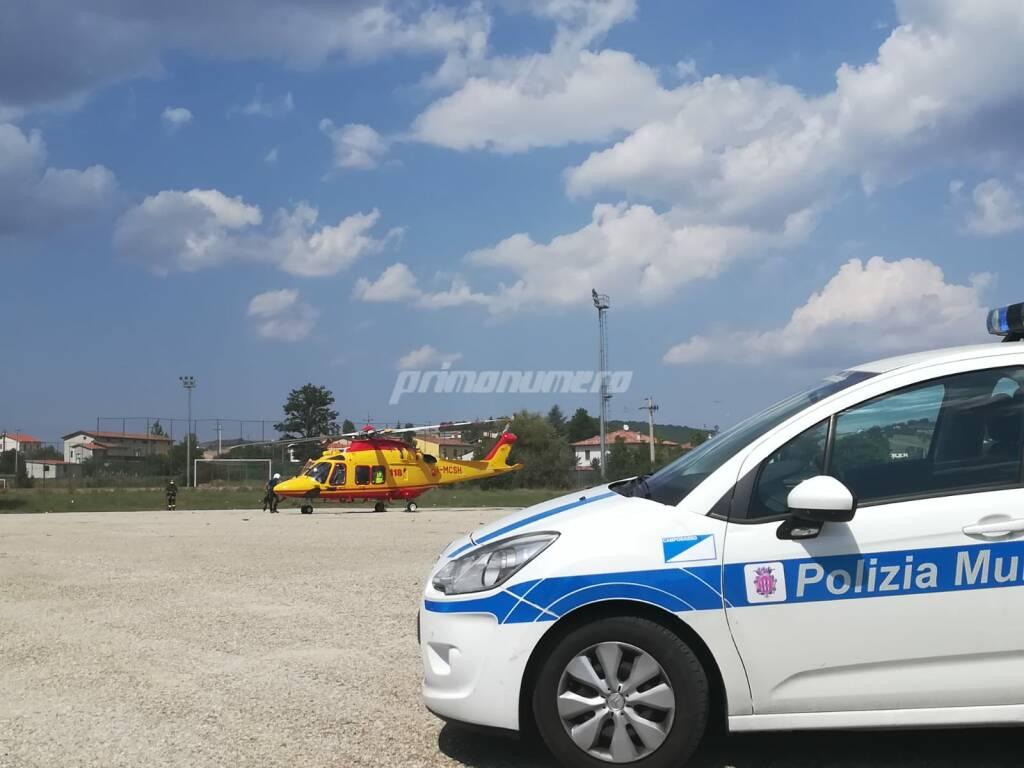 Vigili urbani elicottero 118 ambulanza