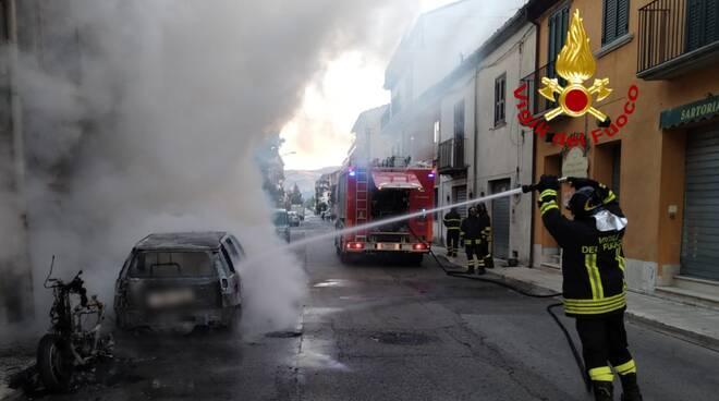 incendio auto moto bojano