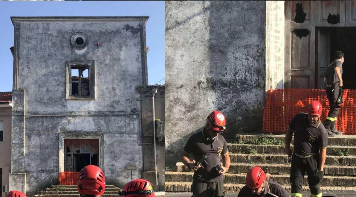 rilievi vigili chiesa bruciata guglionesi