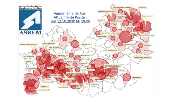 Mappa contagi 12 ottobre