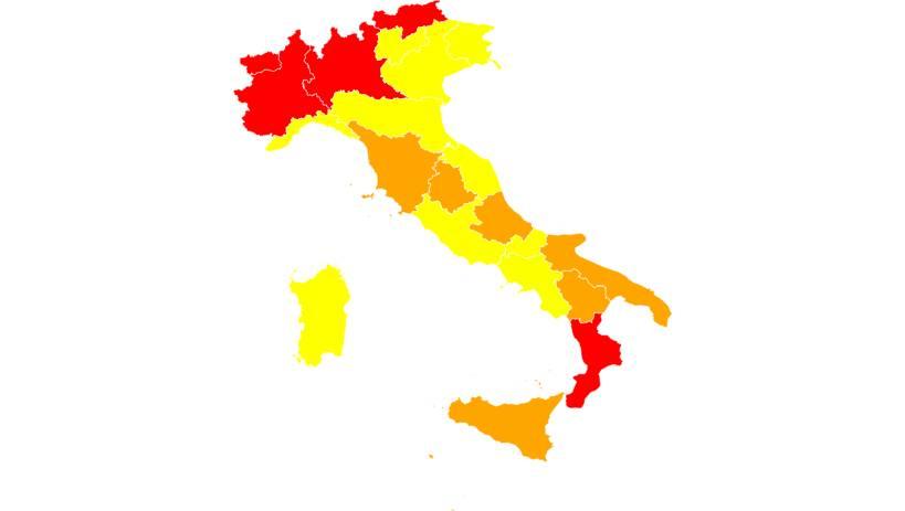 mappa italia zone arancioni rosse