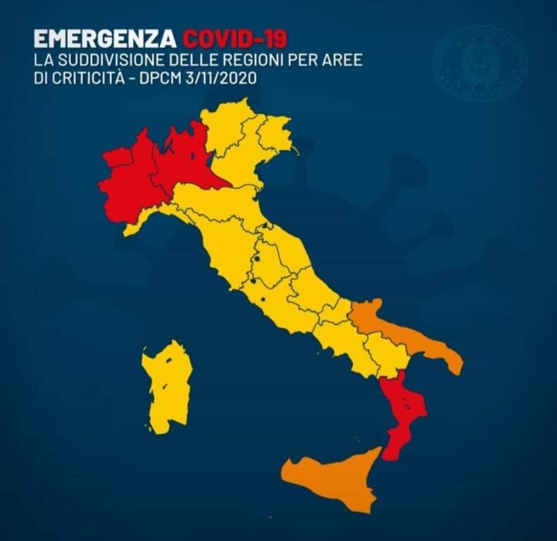 Italia zone colorate