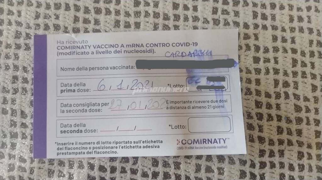 vaccino certificato richiamo