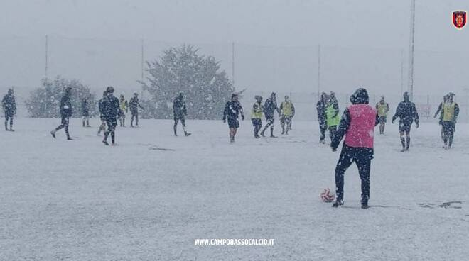 Campobasso calcio allenamento sotto la neve 26 gennaio 2021