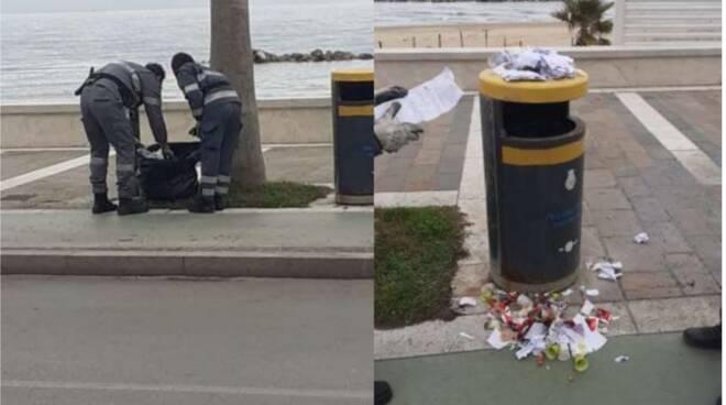 guardie ecologiche rifiuti cestini lungomare
