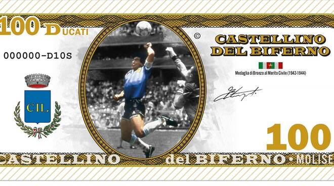 Maradona banconota Castellino sul Biferno