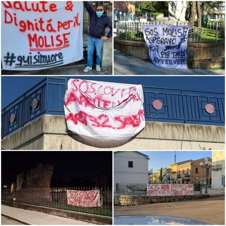 Striscioni protesta sanità