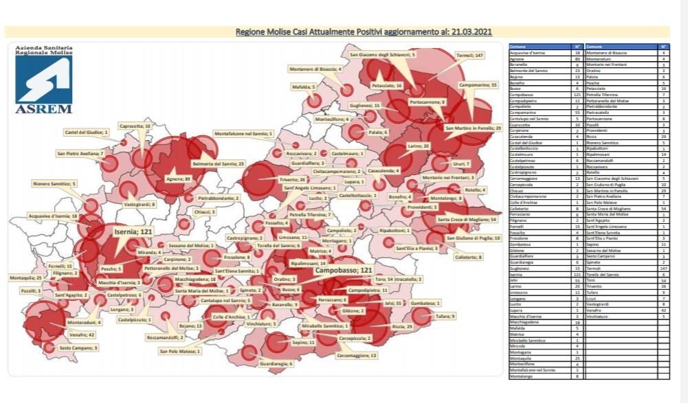 Mappa contagi comuni 21 marzo