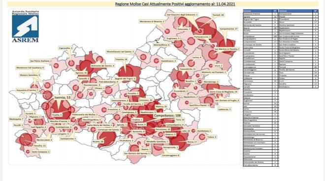mappa contagi 11 aprile