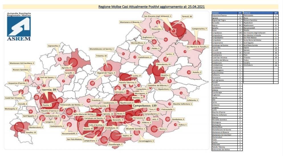mappa contagi 25 aprile