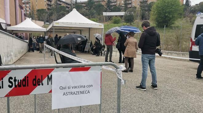 Pala Unimol vaccinazioni astrazeneca 70 anni 79 anni punto vaccinale gente in coda