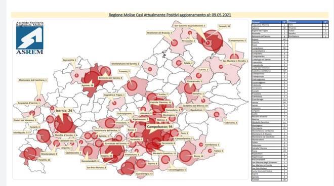 Mappa contagi 9 maggio