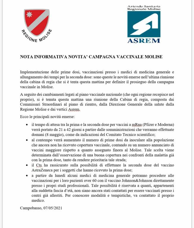 nota informativa asrem vaccini
