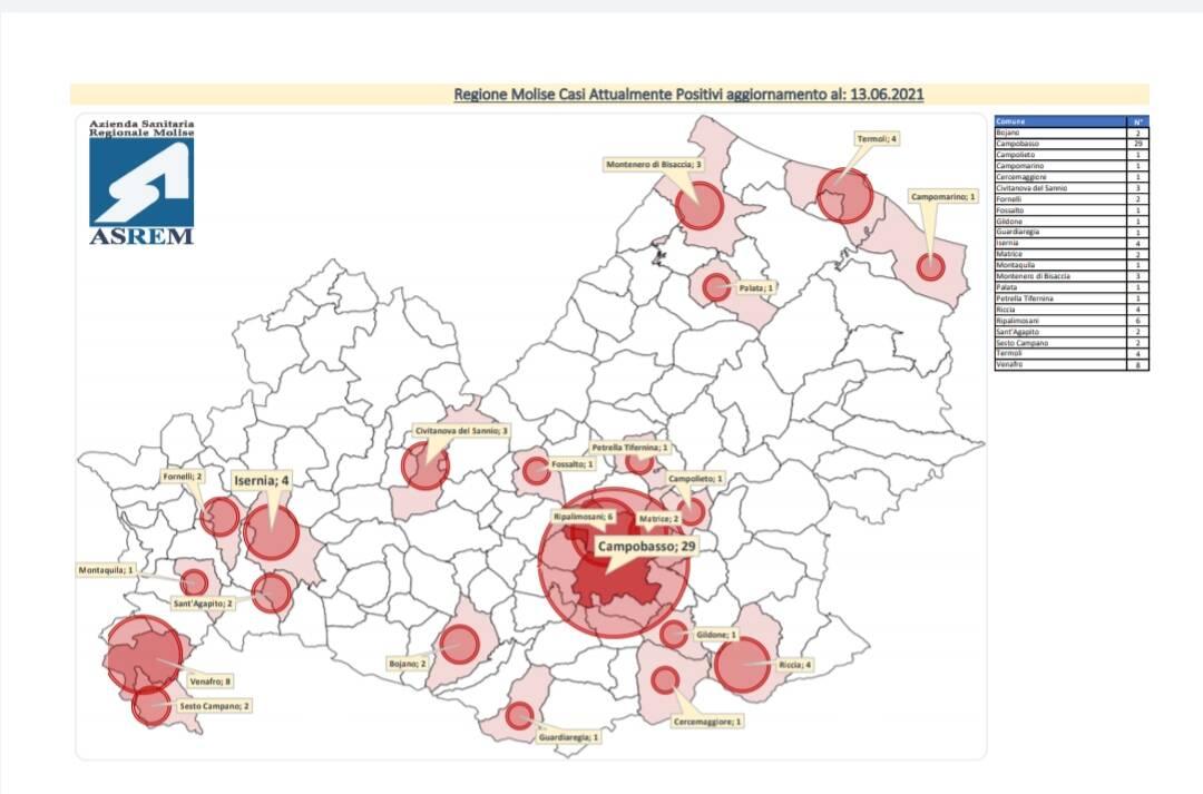 Mappa contagi 13 giugno