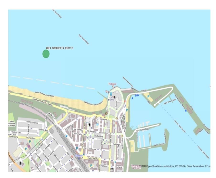 Relitto militare mare di Termoli divieto balneazione