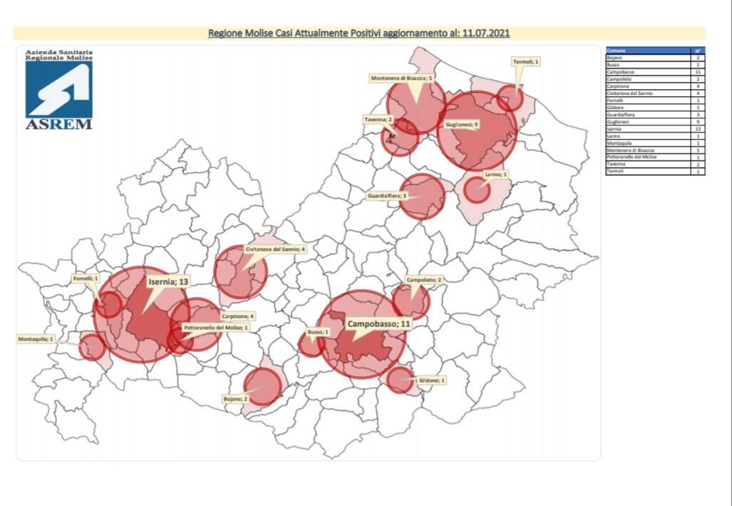 mappa contagi 11 luglio