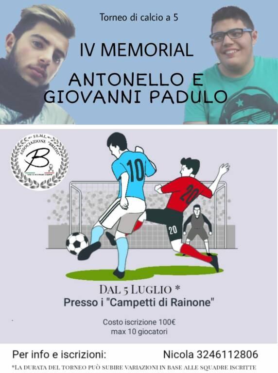 quarto memorial Antonello e Giovanni Padulo locandina