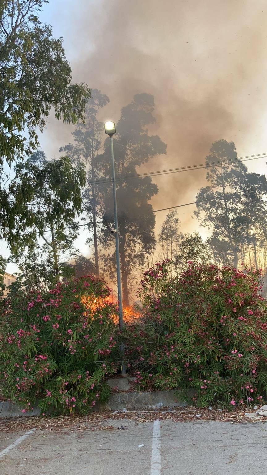 Incendio vicino alla Esso km 546