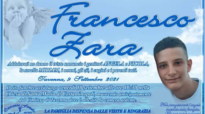 manifesto funebre francesco tavenna